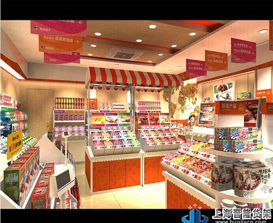 休闲食品超市货架效果图
